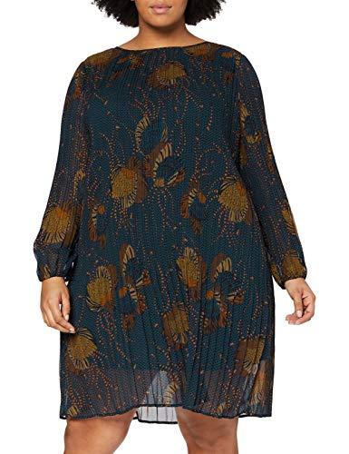 Samoon Damen Ausgestelltes Kleid mit Plisséefalten leger, leicht ausgestellt Navy Gemustert 48