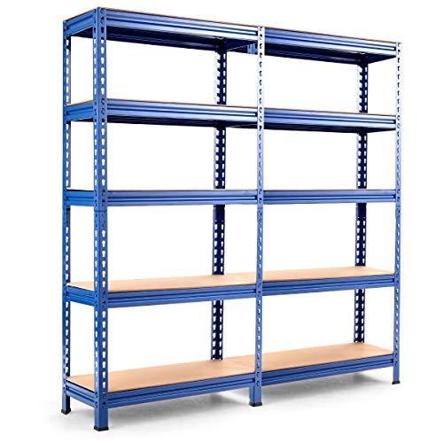 Tangkula Estantería de almacenamiento de 5 niveles, resistente con estructura de acero para uso muscular, estante de garaje de 60 pulgadas con estantes ajustables, estantería sin tornillos para combinación gratuita, estantes de metal (2, azul marino)