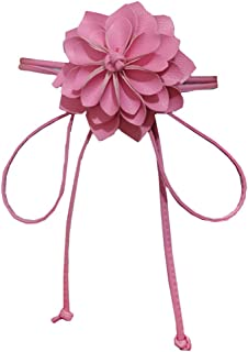 Women's Skinny Braided Free Knot Faux Leather Dress Waist Belt With Flowers