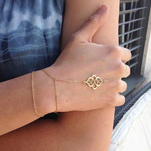 XBSZK Pulsera Pulsera de Dedo Bohemio Cadena de Oro o de Plata Pulsera esclava de Dedo Cadena de Mano de Las Mujeres joyería Delicada Simple