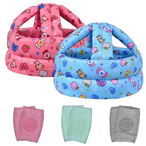 TORASO Baby Safety Helmet & Baby Knee Pads for Crawling, Baby Head Protector, Infant Safety Helmet & Walking Baby Helmet, for Age 6-36 Months, Two Candys(A)