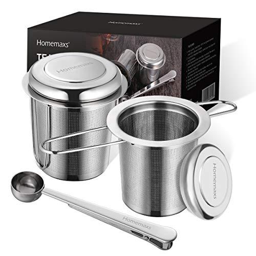 Homemaxs Teesieb Teefilter für losen Tee, 2 Stück 304 Edelstahl Tee Sieb inklusive Deckel Abtropfschale und 1 Löffel, Premium Teesieben mit Faltbare Griffgestaltung Passend für Teekannen, Tee-Tassen