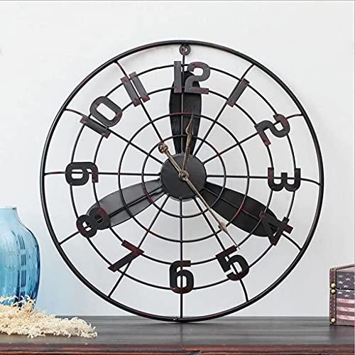 MUZIDP Decoración para el hogar loft Industrial Wind Power Fan Modelo Decoración de pared Reloj de pared Bar Cafetería, Reloj de pared Reloj de pared (Color: A)