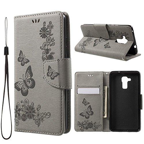 jbTec Handy Hülle Hülle Schmetterlinge passend für Huawei Honor 5C - Schutz Tasche Smartphone Flip Cover Phone Bag Klapp, Farbe:Grau