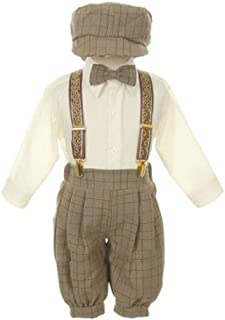Baby Boys Brown Overall Pants Knickers Vintage Outfit Tuxedo Set 12-24M
