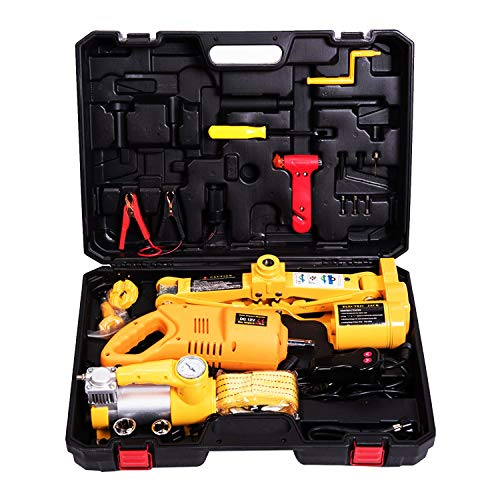 MOTORMAN TOOLS 12V DC 3.0T(6600 lbs) Electric Scissor Jack and Electric Impact Wrench and Inflator...