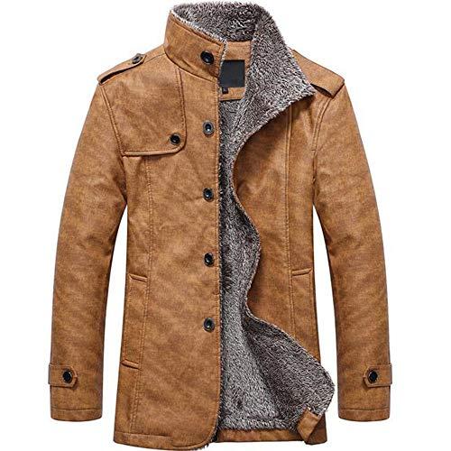 MEIbax Herren Casual Button Thermische Leder Warme Jacken Herbst Winter Steppjacke Übergangs-Jacke Teddy-Fleece Mantel