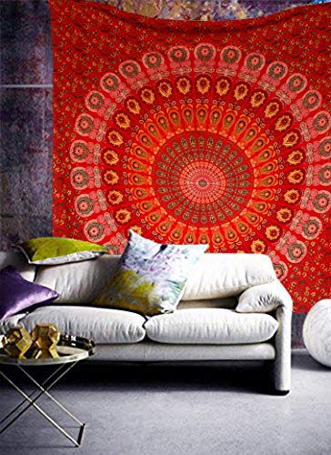 raajsee Red Tapestry Mandala Wall Hangings, Indian Cotton Beach Throw Blanket, Hippie Tapestries Boho Décor Bohemian Bedding,Queen Bedspread 210x220 cms cms Yoga Meditation Mat Rugs