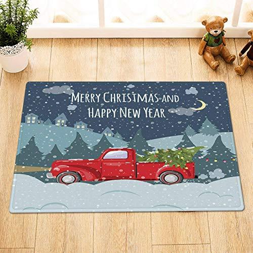 SRJ2018 Alfombras navideñas y de año Nuevo,Casas de automóviles Rojos y árboles Que tiran del árbol de Navidad por la Nieve intensa,tapetes Antideslizantes Suaves y duraderos en los baños.
