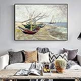 PO-decor Cuadros de Lienzo 20x30cm sin Marco Barcos de Pesca de Van Gogh en la Playa de Saintes-Maries Arte de la Pared Impresionista Impresiones Famosas Decoración del hogar