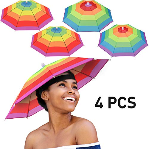 4 Pieces Rainbow Umbrella Hat Adjustable Sun-rain Umbrella Hat for Adults and Kids (Color Set 2)