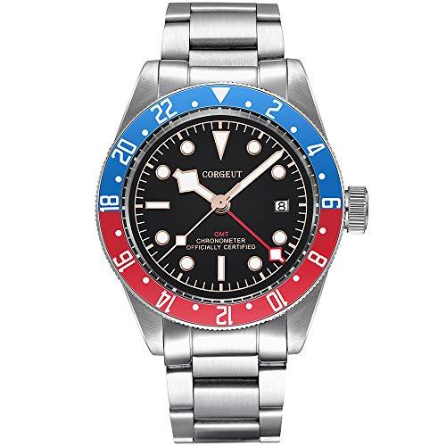 GMT - Reloj automático para hombre, de acero inoxidable, analógico, con fecha, cristal de zafiro, luminoso (azul-rojo-G)