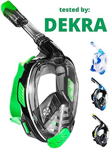 Khroom® door DEKRA® geteste CO2 veilig snorkelmasker, volgelaatsmasker, bekend van YouTube, Seaview X, duikmasker voor volwassenen en kinderen.