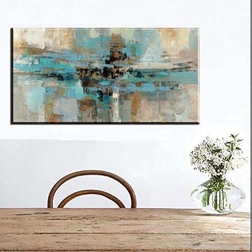 Blue line Painting Canvas Posters and Prints Abstract Large modern Oil Painting Wall Art Bedroom Living Room Frameless Painting 50X100CM