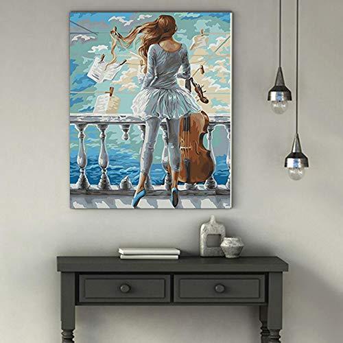 WSNDGWS handgeschilderd abstract muziekinstrument olieverfschilderij viool olieschilderij restaurant hotel cafe decoratie schilderij 20x30cm E1