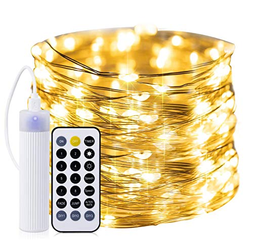 Rechargeable Fairy Lights: 33Ft 100 Led Dimmable Mini Twinkle Firefly String Lights on Silver Wire Remote and Timer Function Customize Light Modes Christmas Wedding Decorations Warm White