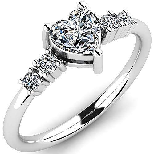 Anillo de compromiso de plata 925 Amicha con cristales de Swarovski - Anillo de propuesta de plata esterlina con forma de corazón para mujer - Anillo de plata para compromiso o como regalo