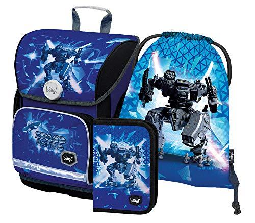 Schulranzen Jungen Set 3 Teilig, Ergo Schultasche ab 1. Klasse, Ergonomische Grundschule Ranzen mit Brustgurt (Space Battle)