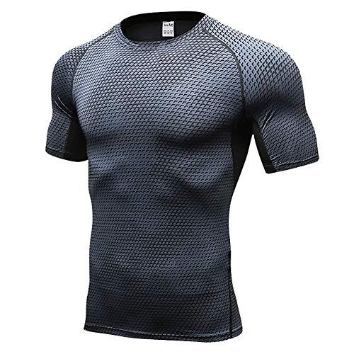 Daoba Camisetas de Fitness Secado Rápido Compresión Ropa Deportiva Manga Corta Hombre para Correr, Ejercicio,Gimnasio