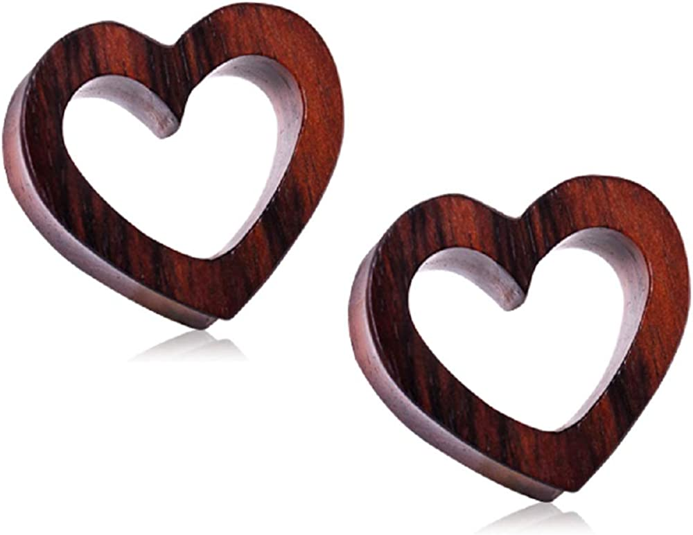 Pierced Owl Organic Sono Wood Heart Gauges NEW S Plug Shaped Product Tunnel