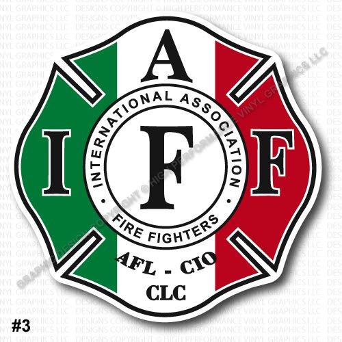 "High Performance Vinyl Graphics LLC IAFF Firefighter Helmet Decal 2"" Sticker Italy Italian Flag Laminated 0390"