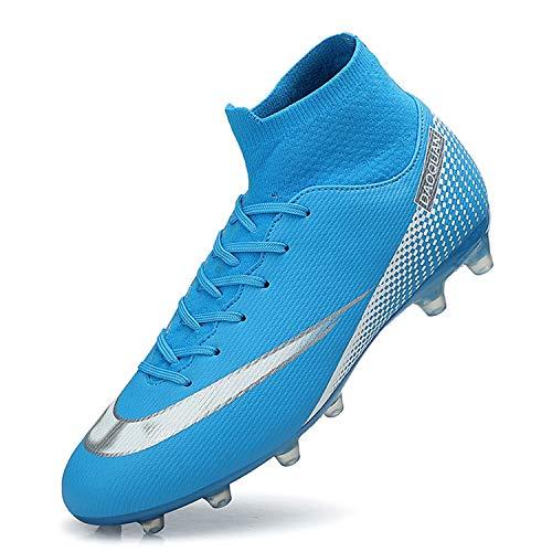 WOWEI Fußballschuhe Herren High Top Spike Cleats Outdoor Athletics Trainingsschuhe Fußball Stiefel,T2150 Blau,EU45