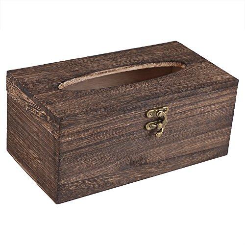 Fdit Caja de Pañuelos de Madera de Estilo Retro Caja de Papel Sostenedor de Servilleta para Coche Dormitorio Baño(22 * 12 * 10cm)