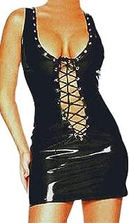 Nouveau Haut Plus Taille Noir Mouillé Faux Cuir Look à Manches Longues Midi Dress 16-26