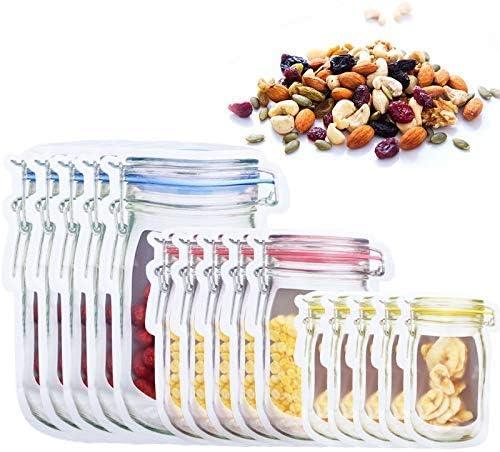 15 Pcs Bolsas de Albañil, Bolsas de Silicona Reutilizables con Cremalleras, Bolsas Ziplock para Conservación de Alimentos Almacenamiento de Bocadillos Sándwiches( 3 Tamaños)