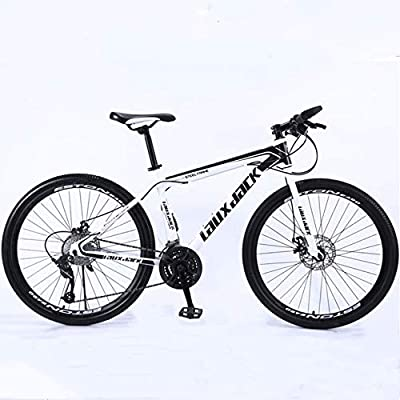 Shlia Multiple Colors 21 Speed Gears 26 Inch Mountain Bike Outdoor Sports Road Bike Suitable for Men and Women Outdoor Riding, US Stock (White-Black)