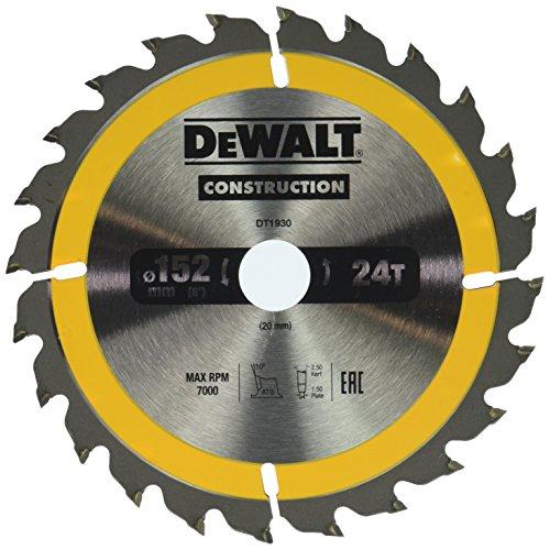 Dewalt Bau-Kreissägeblatt für Handkreissägen (152/20, 24WZ, für schnelle Schnitte, 1 Stück) DT1930-QZ