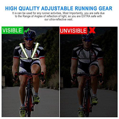 Warnwesten ,Adkwse Warnweste Gurt Reflektorweste Einstellbar Fahrrad Warnweste mit Reflective Cuffs für Herren,Damen(2er Packs) - 5
