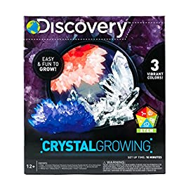 Discovery Kids Crystal Growing Kit by Horizon Group Usa, DIY STEM Science, Make Your Own 3 Colorful Crystals
