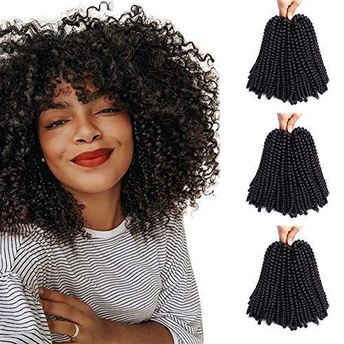WOWTOY Cheveux au Crochet Tresses Synthétique Tressage Extensions de Cheveux Naturel Noir Extension de Cheveux Moelleux (3 Pcak)