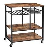VASAGLE ALINRU Kitchen Cart, Kitchen Baker's Rack, Utility Storage Shelf with Bottle Holder, Industrial Microwave Stand, Rustic Brown UKKS80X