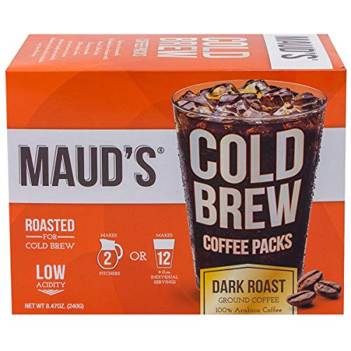 Maud's Cold Brew Coffee Filter Bags 1 Pack - Solar Energy Produced 100% Arabica Low Acid Coffee Cold Brew Packs, 4 Filters Makes 2 Pitchers Or 12 Single Serve Cups, No Cold Brew Coffee Maker Required