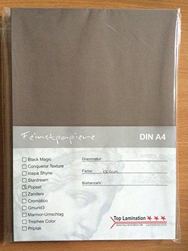 25 Blatt DIN A2 hellbraun Papier 170g/m² von Top Lamination - komplett durchgefärbt, bedruckbares Farbpapier