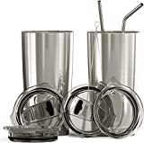 Bluepeak Double Wall Stainless Steel Insulated Tumbler Set, 2-Pack, Includes Sipping Lids, Spill-Proof Sliding Lids, Straws, Cleaning Brush & Gift Box (20oz, Silver)