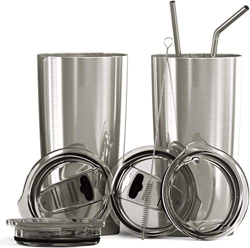 Bluepeak Double Wall Stainless Steel Vacuum Insulated Tumbler Set, 2-Pack, Includes Sipping Lids,...