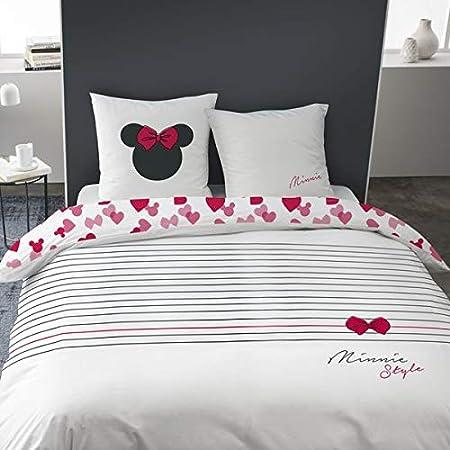 Minnie Style Parure de lit 100% Coton Housse de Couette 240X220 + 2 Taies d'oreiller 63X63 Cm