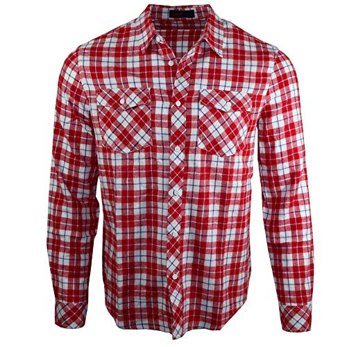 D&H Camisa casual de manga larga de franela de algodón para hombre Rojo Cuadros rojos S