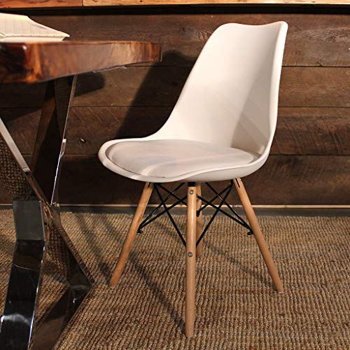 Finch Fox Eames Replica Nordan DSW Stylish Modern Furniture Plastic Chairs with Cushion White Colour