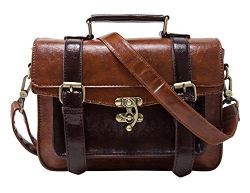 ECOSUSI Women PU Leather Satchel Purse Vintage Small School Crossbody Messenger Bag Work Cross-body Bag, Coffee