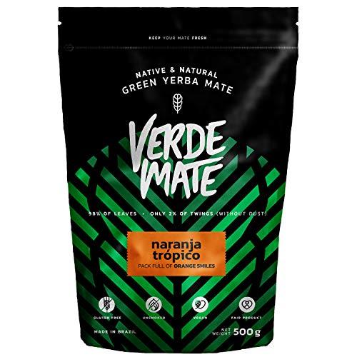 Yerba Verde Mate Green Naranja Tropico | Verde Mate Green Té Naranja Tropico | Yerba Mate de Brasil | Alta calidad | Yerba mate con sabor | Sin gluten | Secada sin humo (500g) (Comestibles)