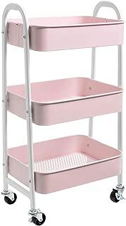 AGTEK Makeup Cart, Movable Rolling Organizer Cart, 3 Tier Metal Utility Cart, White - Pink