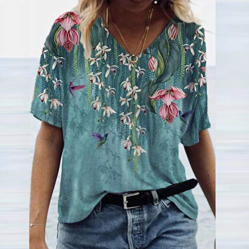 T-Shirt Damen Sommer Vintage Drcuken Oberteile Kurzarm Blusen T-Shirt V-Ausschnitte Loose Oversize Shirt Retro Blumen Drucken Frauen Bluse Tops Casual Bedruckt Asymmetrisch Oberteile Top Mode Tunika