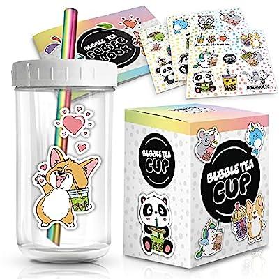 Reusable Bubble Tea Cup Set – 22oz Glass Boba Tea Cup with Lids & Straws – Bubble Tea Gift Set Includes Recipe Book & Stickers - Reusable Boba Cup for Milk Tea & Smoothie & Iced Coffee
