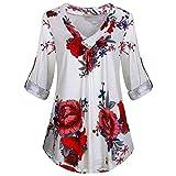 Blusas y blusas de manga larga para mujer, cuello en V,...