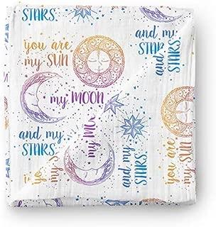 Aenne Baby Rainbow Sun Moon Stars Muslin Swaddle Blanket Purple Pink Gender Neutral Large 47 x 47 inch, 1 Pack, Girl Boy Nursing Cover, Wrap