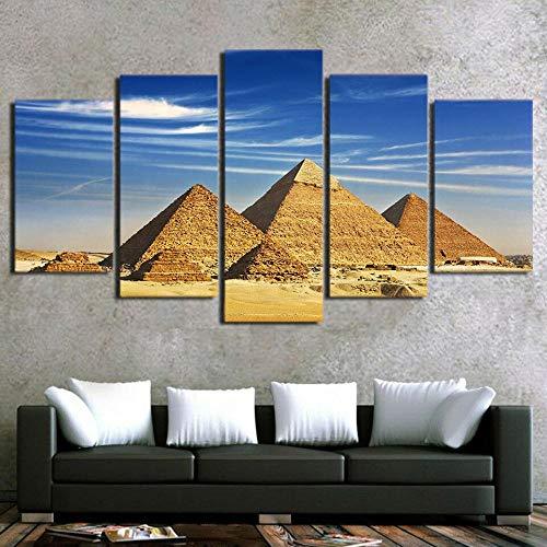 5 Piezas Cuadro Sobre Lienzo De Fotos Pirámides D Egipto El Antiguo Egipto Giza Lienzo Impresión Cuadros Decoracion Salon Grandes Cuadros Para Dormitorios Modernos Mural Pared 5 Partes Carteles Regalo